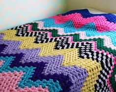 Retro Chevron Afghan - Crochet Blanket One of a Kind Zig Zag Comforter Large Mid Century Modern