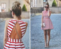 Red and white striped dress Cute Summer Dresses, Cute Dresses, Casual Dresses, Summer Outfits, Fashion Dresses, Autumn Fashion Grunge, Essentiels Mode, Stripes Fashion, Couture