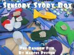 Sensory bin based on the Rainbow Fish #thegoldengleam