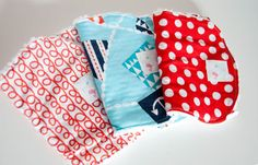 Set of 3 Baby Burp Rags - Michael Miller Ahoy Matey- Red and Blue - Chenille