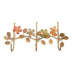Vintage Row of 3 Hooks with Crystal Flowers - Hooks - Homeware