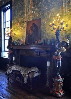 Palazzo Lavaca ~ This is part of the Main Room. The walls & restored to the original look and then sealed for preservation& Fireplace Mantels, Fireplaces, Inside Mansions, Art Nouveau, Inside Castles, Beautiful Home Designs, Exterior Paint, Interior Design Inspiration, Decoration