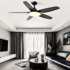 Modern Mid-Century Matte Black Fan Ceiling Lamp for Living Room Dimmable Ceiling Fans Without Lights, Led Ceiling Lights, Ceiling Lamp, Chandelier Fan, Flush Mount Ceiling, Sloped Ceiling, Living Room Lighting, Midcentury Modern, Decoration