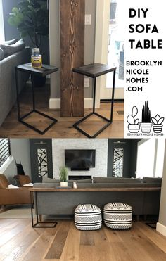 A tutorial for the easiest DIY sofa table you will ever find. Behind the couch table. Do it yourself sofa table. diy projects for the home Easy DIY Sofa Table Long Sofa Table, Diy Sofa Table, Sofa Tables, Dyi Console Table, Extra Long Console Table, Modern Sofa Table, Home Living Room, Living Room Designs, Living Room Decor