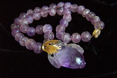 14K Lovely Jade Lavender Purple Chinese Carved Amethyst Pendant & Beads Necklace