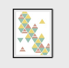 Items similar to Triangle Print, Mustard Coral Mint Poster, Abstract Triangle Poster, Geometric Print, Minimalist Print on Etsy Geometric Poster, Triangle Print, Abstract Print, Office Decor, Scandinavian, Minimalism, Coral, Texture, Unique Jewelry