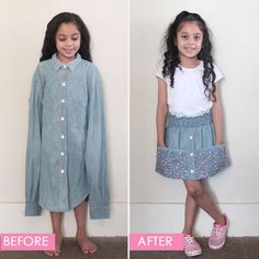 Father's Day Upcycle: Daddy's Shirt to Daughter's Dress Snow White Dresses, Liberty Fabric, Bias Tape, Shirt Skirt, Skirts With Pockets, Green Fabric, Diy Dress, Dress Patterns, Sewing Patterns