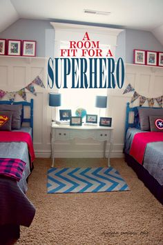 Boys Superhero Bedroom. Love the banner, but maybe add the twins names