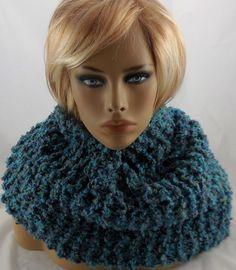 NEW handmade knit COWL INFINITY SCARF, Rainbow Boucle, Carnival 60 x 10 Med   #Handmade #CowlInfinity