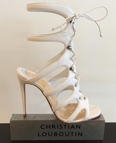 Christian Louboutin Amazoulo 100 lace-up suede sandal in white