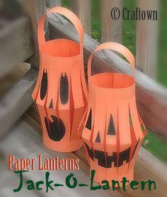 Jack O Lantern Paper Lanterns: Halloween Crafts for Kids