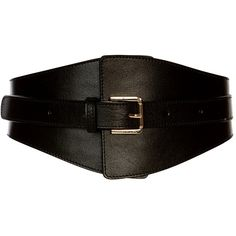 Karen Millen Leather Wide Buckle Waist Belt (325 BRL) ❤ liked on Polyvore featuring accessories, belts, waist belt, wide waist belt, wide leather belt, wide buckle belt and military belt