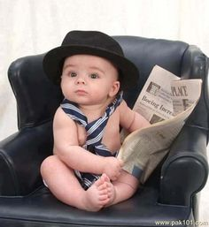 Funny picture about reading | Funny Picture baby reading newspaper | Pak101.com