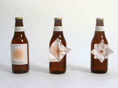 Beer Marketing, Pre-folded beer label that can become a flower. ...