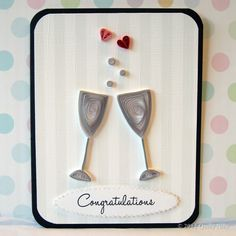 Paper Quilling Wedding or Anniversary Champagne Glasses Card. $6.75, via Etsy.