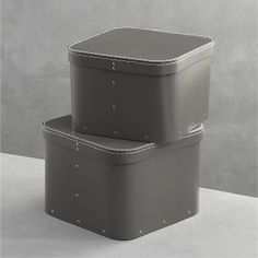 $20 Set of 2 Bigso® Grey Square Storage Boxes in Closet | Crate and Barrel 11x11x8