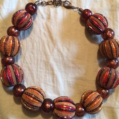 Multi-colored necklace! Bold and vibrant choker made of cork and beads. Chico's Jewelry Necklaces