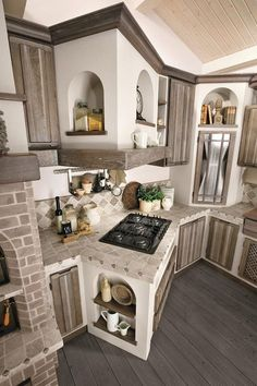 What distinguishes a country kitchen? - What distinguishes a country kitchen? Kitchen Interior, Home Decor Kitchen, Rustic Kitchen Design, Kitchen Remodel, Home Kitchens, Kitchen Style, Modern Farmhouse Kitchens, Kitchen Cabinets Makeover, Kitchen Design