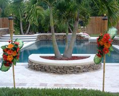 Beautiful Tropical Pool Area.  TROPICAL TORCHES ~ FOR BRIDAL SHOWER or SUMMER USE!