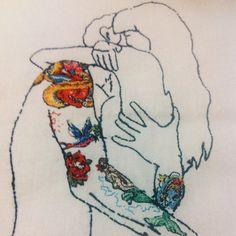 Algumas pessoas já nos pediram para postar foto de como ficam os avessos de nossos bordados {sim, isto é um avesso }. Esse é o nosso bordado conceito da coleção #softporn e não está à venda  #clubedobordado #embroidery #bordado #handmade #concept #avesso #feitoamao #tattoo #illustration #art #sp #brasil