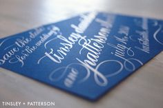 Navy and white save the date! Featuring white foil stamping | Custom by Nico and Lala