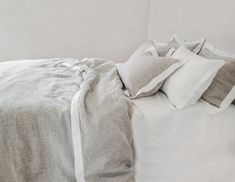 Melange linen pillowcase with a white border. Linen Sheets, Linen Duvet, Custom Made Curtains, Color Shades, Flat Sheets, Bed Spreads, Grey And White, Duvet Covers, Pillow Cases