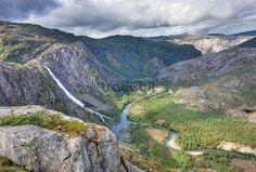 Storskogdalen valley with Litlverivassforsen waterfall and Storskogelva river, Rago National Park, Norway
