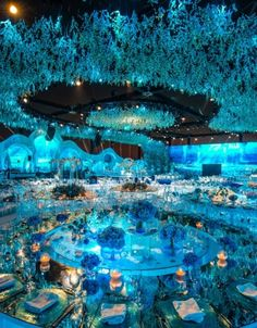The Top 10 Lebanese Weddings of Summer 2017 - Savoir Flair Wedding Venue Decorations, Outdoor Wedding Venues, Wedding Themes, Aladdin Wedding, Custom Neon, Nightclub Design, Aquarium Wedding, Lebanese Wedding, Luxury Wedding Decor
