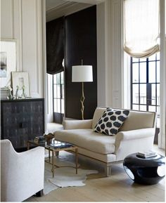 The most beautiful mix of white, cream, gray, and black with hits of gilt. Gorgeous. Betsy Brown Interiors