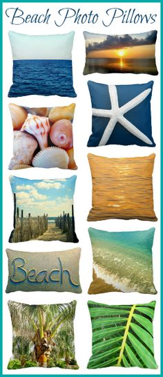 Beach photo pillows that capture the experience of sun, sand, surf, ocean breezes, beachcombing, and more. Scenic beach pillows, ocean pillows, seashell pillows, starfish pillows, palm pillows, sand writing pillows. By Beach Bliss Living: http://beachblissliving.com/beach-pillows/