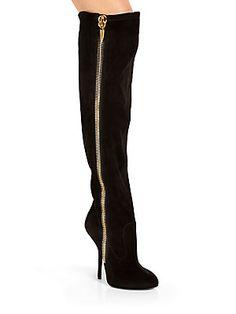 Giuseppe Zanotti Suede Over-The-Knee Platform Zip Boots