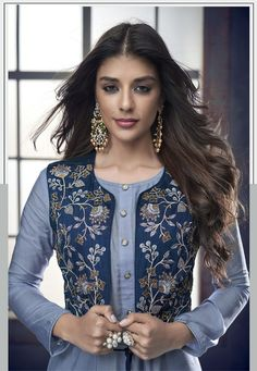 Sajawat Creation Sarthi Vol 4 Pure Heavy Maslin Designer Suit 1005 Simple Kurti Designs, Kurta Designs Women, Salwar Designs, Kurti Designs Party Wear, Dress Neck Designs, Designs For Dresses, Blouse Designs, Jacket Style Kurti, Kurti With Jacket