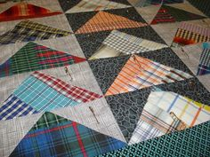 I had a slow work day on Monday, so I spent some extra time in the sewing room on odds and ends. Plaid Quilt, Striped Quilt, Plaid Flannel, Scrappy Quilts, Quilting, Mens Shirt And Tie, Recycled Shirts, Shirt Quilts, Flying Geese