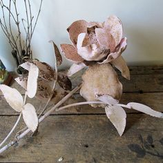 Large metal flower fragment handcrafted rusty pink rose rustic farmhouse wall or table one of a kind home decor anita spero design