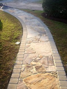 walkway…cool idea too. – All About Garden walkway…cool idea too. – All About Garden walkway…cool idea too. – All About Garden walkway…cool idea too. – All About Garden Backyard Walkway, Outdoor Walkway, Front Yard Landscaping, Landscaping Ideas, Pavers Ideas, Pathway Ideas, Modern Landscaping, Garden Stones, Garden Paths