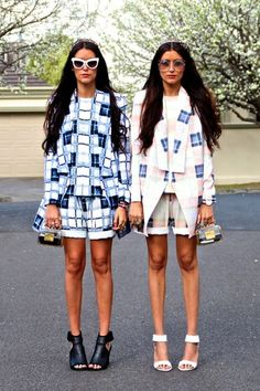 "This Street Style Sister Duo Has Us Seeing Double #refinery29  http://www.refinery29.com/matching-fashion-sisters#slide-9  Jess: ""The only thing we like more than a twosie is a threesie.""Stef: ""We had just come from a ladies lunch to launch Melbourne's biggest horse race event, the Spring Racing Carnival."""