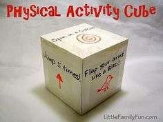 Physical activity cube - roll the 'dice' and do the actions Active indoor fun for frigid winter days