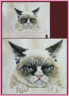 ru / Photo # 189 - Kittens and fish ,. Machine Embroidery Patterns, Embroidery Thread, Embroidery Applique, Cross Stitch Embroidery, Cat Quilt, Textile Fiber Art, Thread Painting, Cat Crafts, Grumpy Cat