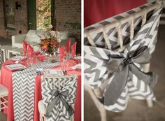 Preppy Coral and Gray Wedding Tabletop from Flowers by Gary - Southern Bride & Groom