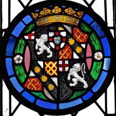 Begbroke, Oxfordshire, St Michael's Church. Stained Glass. Heraldic windows Arms of George Spencer Churchill, 5th Duke of Marlborough.