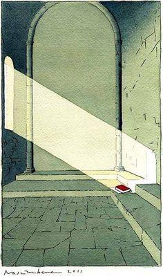 """The Sanctuary of Reading"" by Yan Nascimbene.."