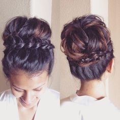 Sock Bun-Inspired Messy Braided Updo - 101 Braid Ideas That Will Save Your Bad Hair Day (Photos) Pretty Hairstyles, Braided Hairstyles, Wedding Hairstyles, Braided Updo, Casual Hairstyles, Summer Hairstyles, Indian Hairstyles, Bridal Hairstyle, Updo Hairstyle