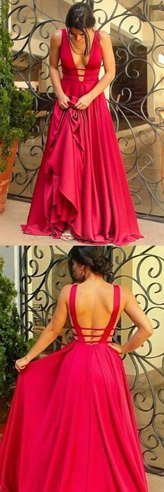 Satin Prom Gown,Sexy Prom Dress,Deep V-Neck Evening Dress,Mermaid Prom Dress,Long Simple Formal Dress