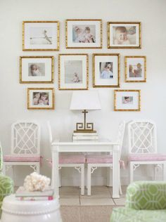 gold framed wall gallery + pink & white fretwork design ideas interior home design interior design 2012 designs Gold Frame Wall, Frames On Wall, Gold Frames, Framed Wall, Gold Mirrors, Inspiration Wand, Hallway Inspiration, Gold Rooms, Deco Addict