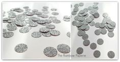 Silver Glitter Table Confetti, Double sided, Wedding, Birthday, Celebration, Silver Disc, Silver Dots