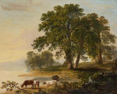 Pastoral Scene at Lake's Edge.  Asher B. Durand.  Questroyal Fine Art, LLC.