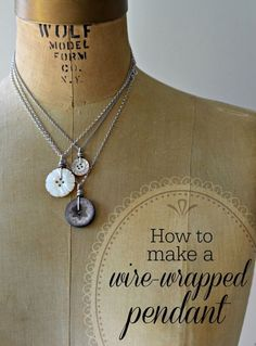 What to do with your vintage mother of pearl buttons -learn to make a simple wire-wrapped pendant on Craftsy. #tutorial