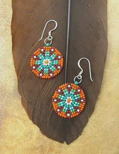 Seed Beaded Earrings Mandala Design Delicate от HANWImedicineArt