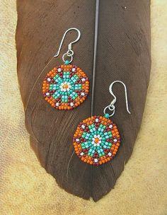 Seed Beaded Earrings Mandala Design Delicate by HANWImedicineArt Seed Bead Jewelry, Seed Bead Earrings, Beaded Earrings, Earrings Handmade, Seed Beads, Beaded Jewelry, Crochet Earrings, Orange Earrings, Orange And Turquoise