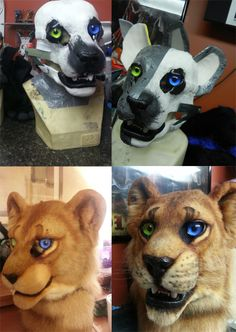 Additionally, some insight on the making of a realistic head on a resin base. The 'lion/tiger' resin base is also purchasable: http://www.furaffinity.net/view/12102166/